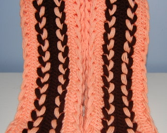 Peach & Brown Hairpin Lace Scarf