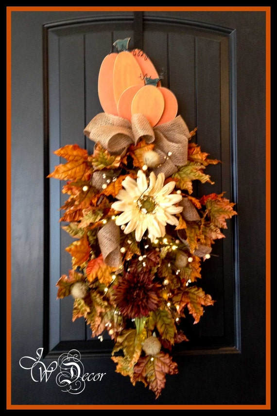Fall Wreath With Lights Teardrop Swag Front Door Hanger Wood