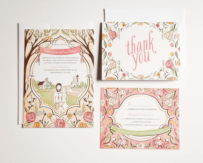 Illustrated Wedding Invitations: Custom Wedding Invitation Hand Drawn Illustrated By AmyHeitman