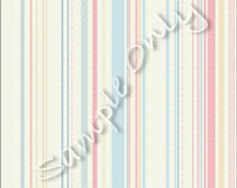 "Dollhouse Miniature Wallpaper, ""Candystriper"", Scale One Inch"