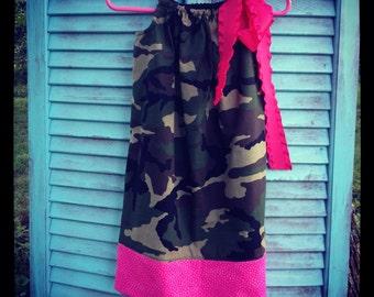 Camo and Pink Pillowcase Dress