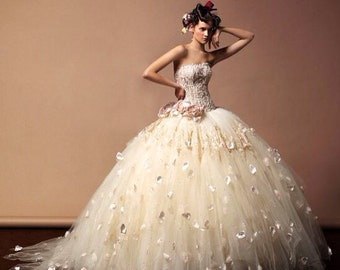 Wedding dress, ball gown, strapless, designer dress, custom made