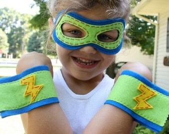 Superhero Mask and Cuffs-Customize-Christmas Gift- Superhero Accessory-Superhero Dress Up Party