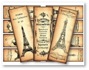 Digital Collage Sheet Download - Paris Bookmarks -  55  - Digital Paper - Instant Download Printables