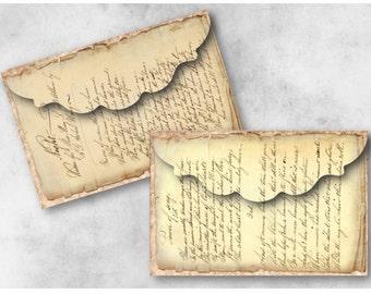 Digital Collage Sheet Download - Vintage Handwritten Ephemera Envelopes -  942  - Digital Paper - Instant Download Printables