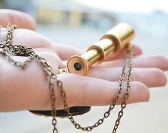 DISTANCE a telescope necklace bronze retractable mini working spyglass