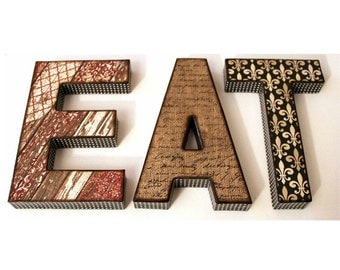 eat letters 8 inch decoupage kitchen decor