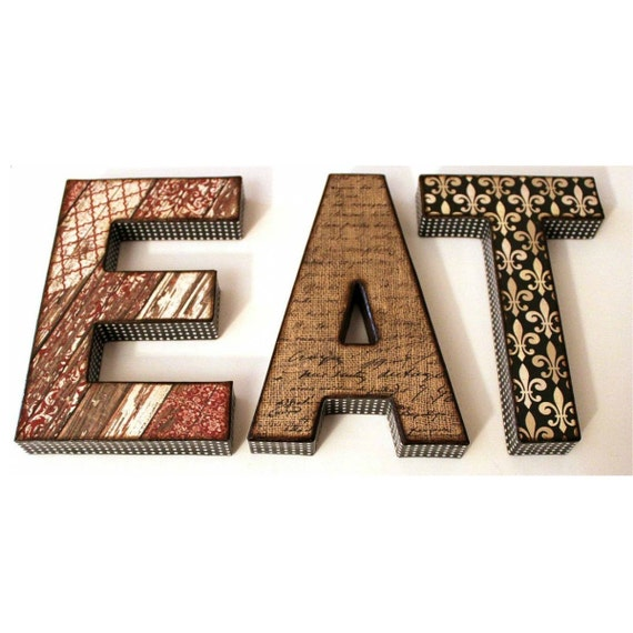 Eat letters 8 inch decoupage kitchen decor for Kitchen letters decoration