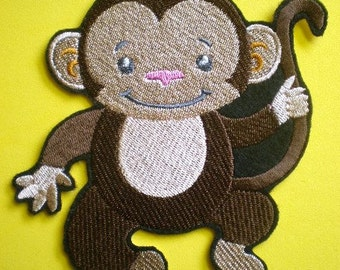 Cute Embroidered Monkey Applique, Iron On Patch, Childrens Clothing, Backpacks, and Bookbags, Childrens Applique