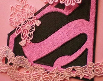 Superman, No Superwoman, Supergirl Embroidered Pink Super Hero Iron On Applique Patch, Girl Power, Pink Power