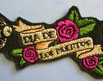 Small Embroidered Day of the Dead, Dia de los Muertos Applique Patch, Sparrow Skulls, Bird Skull and Roses, Mexico, Mexican, Hispanic Patch