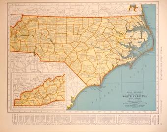 Vintage North Carolina Map, 1939 Original Atlas Antique, Charlotte, Raleigh, Fayetteville