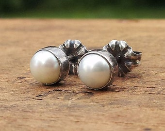 5mm White Freshwater Pearl Stud Post Earrings Fine Sterling Silver Oxidized Finish - Little Bits of Color