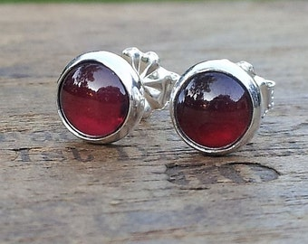 6mm Garnet Gemstone Stud Post Earrings Fine Sterling Silver Shiny - Little Bits of Color