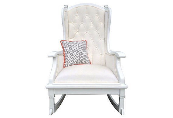 Upholstered Painted Rocker Rocking Chair Tufted Vintage French Faux ...