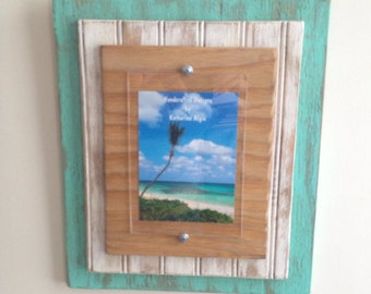 5 x 7 Distressed Handmade Picture Frame - Sea Breeze Green, White & Natural Wood