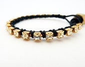 Rhinestone friendship bracelet / black / brass / Rocker Glam Chic / Teens Tweens / BFF