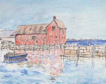 Motif #1, Famous Rockport Mass, New England Fishing village, scenic landscape seascape print, 8.5x11wall decor Home & Living color, Print