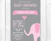 Elephant Baby Shower Invitation - Pink & Gray Girl Elephant Shower Invite. DIY Printable Invitation. Coordinating Party Package Available.