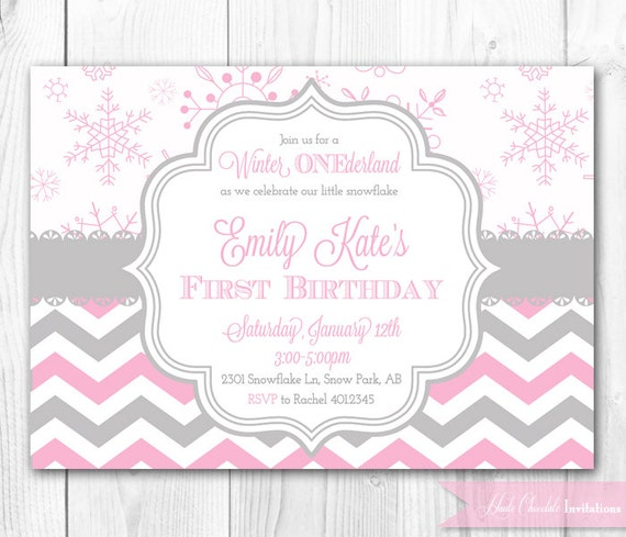 items similar to winter onederland birthday invitation in pink, Birthday invitations