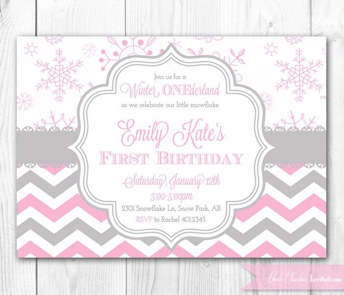winter onederland birthday invitation in by hautechocolatefavors, Birthday invitations