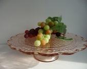 Pink Depression Glass Pedestal Cake Plate