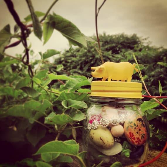 Lemon Yellow Lucky Pig Treasure Jar