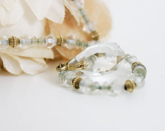 30s Crystal Necklace - Art Deco, Antique Jewelry //  Facet ,Crystal Glass Beaded, Clear Drop Pendant //  Rolled Gold, Stamped Metal