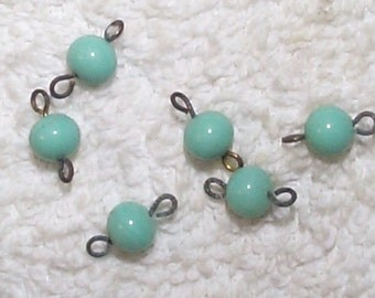 Vintage 1930s Japanese Pale Turquoise Glass Beads with Rings