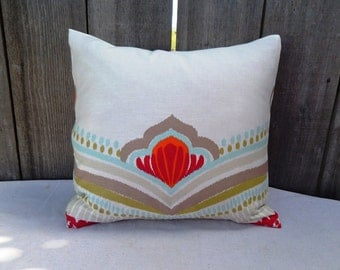 """Red IKAT flower on White background Pillow cover 20"""""""