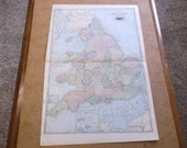 Vintage 1904 Tunison's England and Wales Map