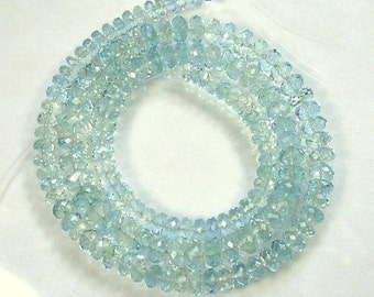"Aquamarine Beads Natural Lovely Blue 7"" Strand 3.5mm Rondelle Beads Semiprecious Faceted Gemstone Beads Take 10% Off Bridal Jewelry Supplies"