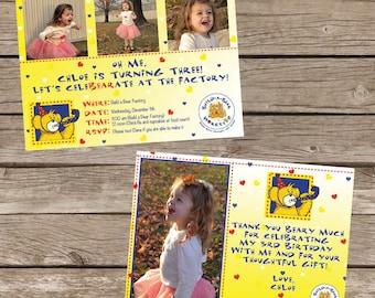 Bear Factory (Build a Bear inspired) Birthday Invitation Package - Printable
