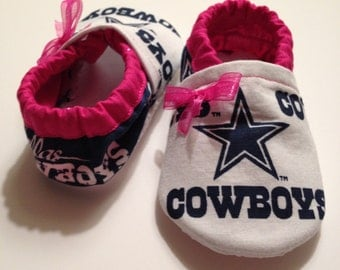 Pink Baby Booties/Shoes Made from Dallas Cowboys Fabric