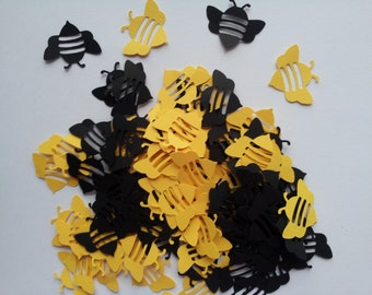 50 black and yellow bee scrapbooking confetti / punches