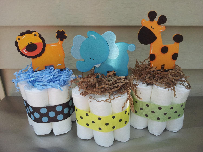 Jungle theme mini diaper cake baby shower centerpiece