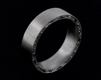 Hand Engraved Men's Wedding Ring, Satin Matte Finish Platinum Wedding Ring, Hand Carved Flat Men's Ring, Scroll Eternity 6mm Wedding Ring