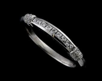 French Cut Square Diamond Women's Wedding Ring, Half Way Channel Set Diamonds Wedding Ring, Milgrain Vintage Style Platinum Band