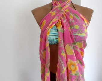 Summer Pareo, Beach Pareo, Soft Pink Yellow Green Bustier Bandeau Pareo, Women Scarf Scarves
