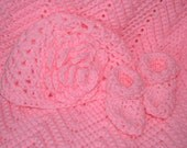 Crocheted PINK baby afghan with matching Beanie &  Booties