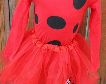 Little Lady Ladybug Halloween Costume Shirt, Tutu, Polka Dot Leg Warmers, Mask - Girls Size 4-5