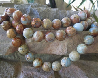 Large Round Focal Bead Blue Brown Impression Jasper 14mm 5 Beads