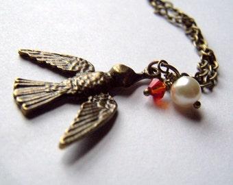 Bird Necklace Bronze Bird Jewelry