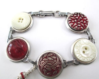 Vintage button bracelet, carved mother of pearl shell buttons, glass buttons. Red and silver