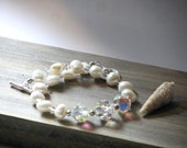Pearl and Crystal Bracelet, Sterling Silver, Crystals, Freshwater Pearls, Bridal Bracelet, Beach Wedding, Gift for Her