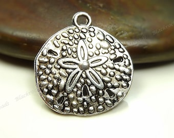 8 Sand Dollar Charms or Pendants  20x18mm Antique Silver Tone Metal - BM5