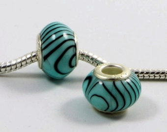 3 Beads - Blue and Black Stripe Zebra Silver European Bead Charm E0041v2
