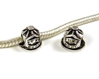 3 Beads - Fire Department Helmet Silver European Charm Bead E0878