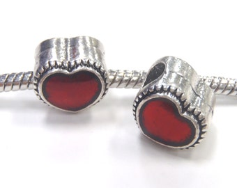 3 Beads - Red Enamel Heart Valentines Silver European Bead Charm E1046