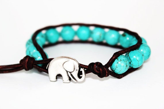 elephant wrap bracelet - beaded wrap bracelet - turquoise blue - good luck elephant